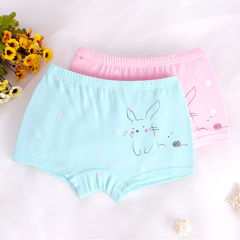 Kid Girls 2 Packs Print Rabbits Dots Boxer Briefs Cotton Underwear