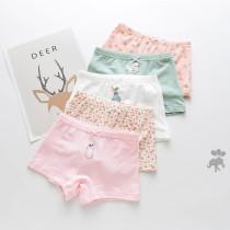 Kid Girls 5 Packs Print Flowers Cute Animals Boxer Briefs Cotton Underwear