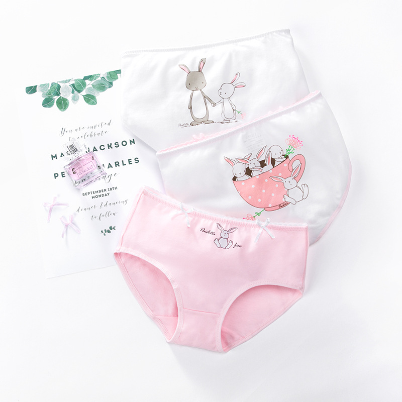 Kid Girls 3 Packs Cartoon Rabbit Boxer Briefs Cotton Underwear