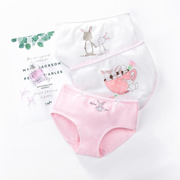 Kid Girls 3 Packs Cartoon Rabbit Boxer Briefs Cotton Underwear