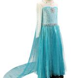 Kid Girl Sequins Flower Gem Maxi Princess Dresse With Long Mesh Sleeves