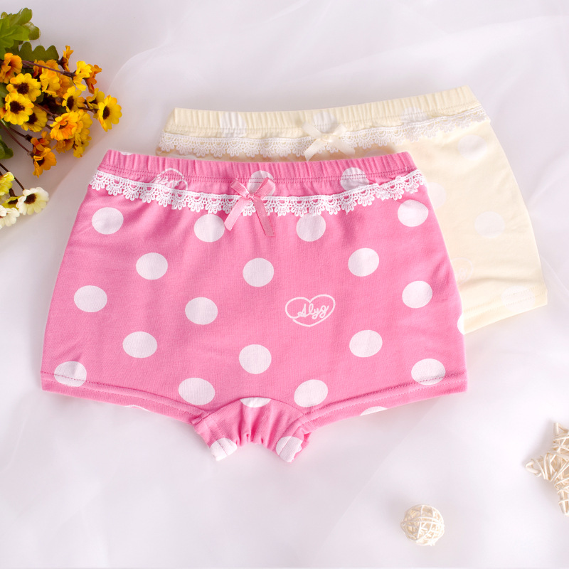 Kid Girls 2 Packs Print Dots Lace Boxer Briefs Cotton Underwear