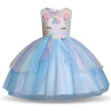 Kid Girl 3D Pearls Flowers Unicon Rainbow Mesh Layers Lace Princess Dress