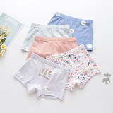 Kid Girls 5 Packs Cute Prints Stripes Flowers Animals Boxer Briefs Cotton Underwear