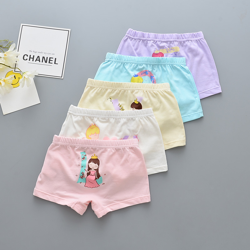 Kid Girls 5 Packs Prints Princess Boxer Briefs Cotton Underwear