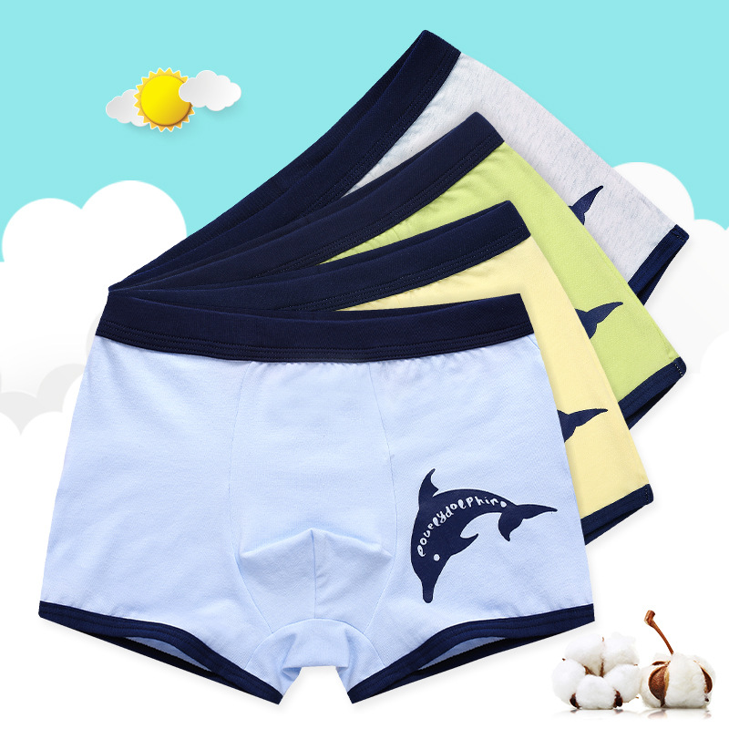 Kid Boys 4 Packs Print Dolphin Boxer Briefs Cotton Underwear