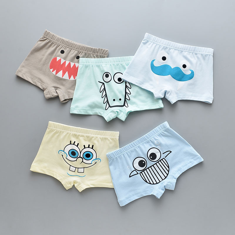 Kid Boys 5 Packs Little Monsters Face Boxer Briefs Cotton Underwear