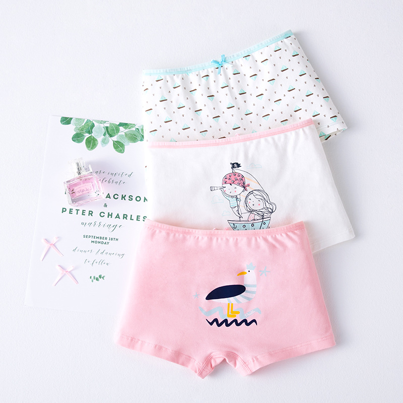 Kid Girls 3 Packs Prints Bird Boats Briefs Cotton Underwear