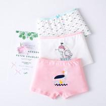 Kid Girls 3 Packs Prints Bird Boats Briefs Cotton Underwear
