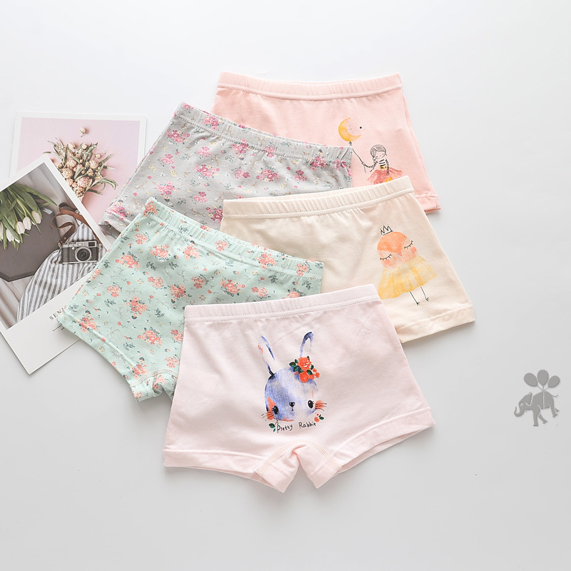 Kid Girls 5 Packs Print Little Girl Cute Animals Boxer Briefs Cotton Underwear