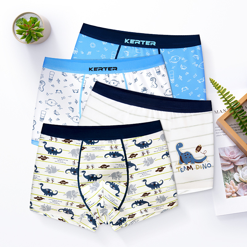 Kid Boys 4 Packs Print Dinosaur Sea Horse Boxer Briefs Cotton Underwear