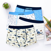 Kid Boys 4 Packs Print Dinosaur Sea Horse Boxer Briefs Cotton Underwear