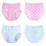 Kid Girls 4 Packs Print Dots Briefs Cotton Underwear