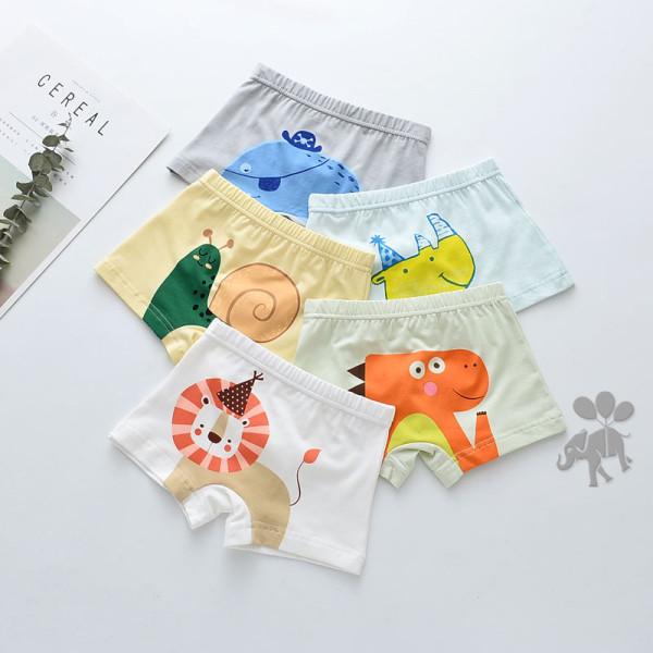 Kid Boys 5 Packs Print Cute Animals Boxer Briefs Cotton Underwear