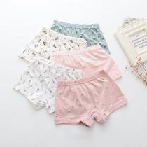 Kid Girls 5 Packs Print Flowers Boxer Briefs Cotton Underwear