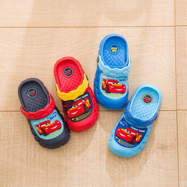 Toddlers Kids Cartoon 3D Racing Cars Flat Beach Slippers