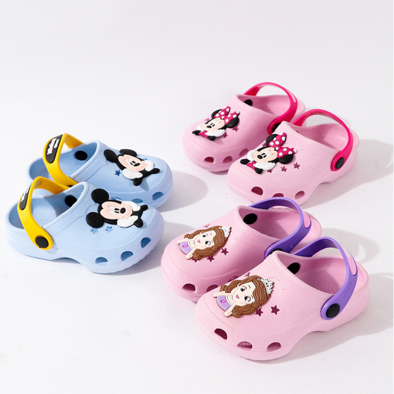 Toddlers Kids Cartoon 3D Mickey Minny Hollow-cut Stars Flat Beach Slippers