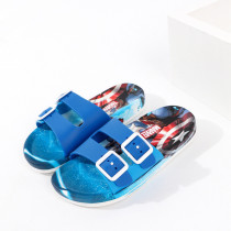Toddlers Kids Cartoon Spiderman Captain America Flat Beach Slippers