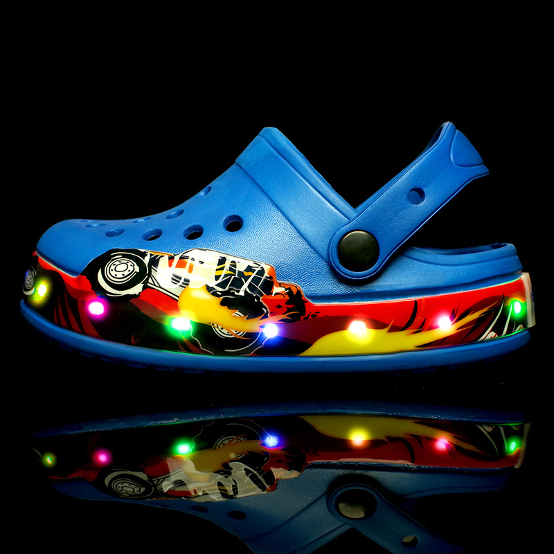 Toddlers Kids Cartoon 3D LED Lights Car Flat Beach Slippers Sandals
