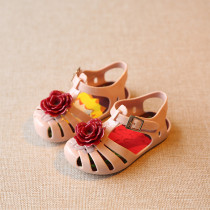 Kid Toddler Girl Hollow-Out 3D Flower Jelly Flats Sandals Shoes