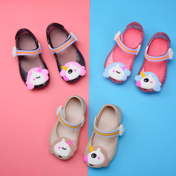 Kid Toddler Girl Cartoon 3D Rainbow Unicorn Jelly Flats Shoes