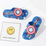 Toddlers Kids Cartoon 3D Captain America Spiderman Flat Beach Slippers