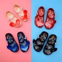 Kid Toddler Girl Cartoon 3D Glitter Heart Wing Jelly Flats Shoes