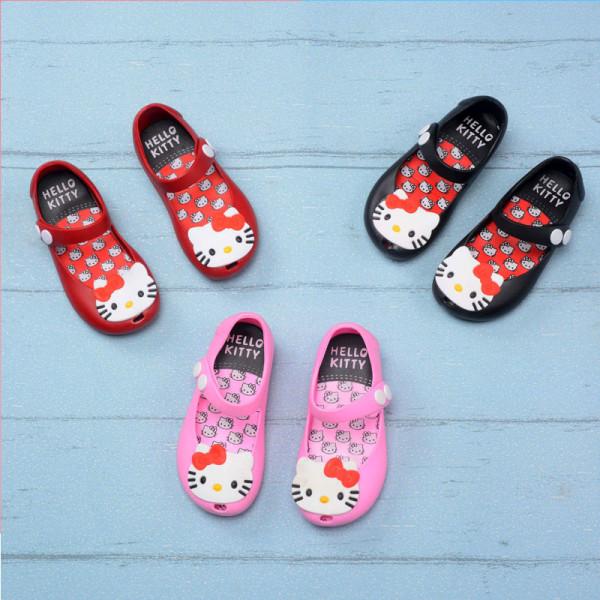 Kid Toddler Girl Cartoon 3D Hello Kitty Jelly Flats Shoes