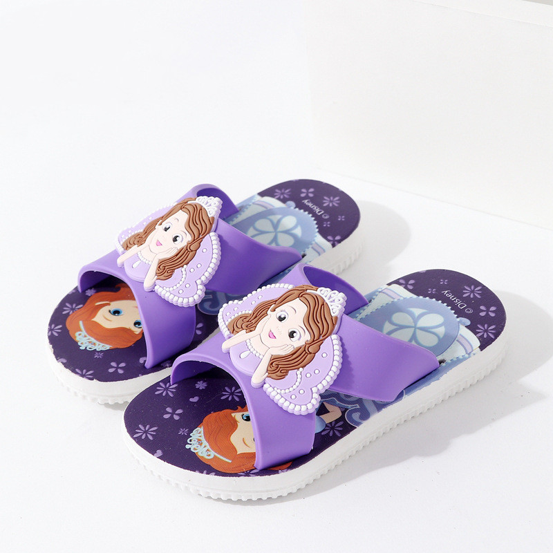 Toddlers Kids Cartoon 3D Sofia Princess Flat Beach Slippers