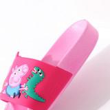 Toddlers Kids Cartoon Peppa George Pig And Dinosaur Bowknot Flat Beach Slippers