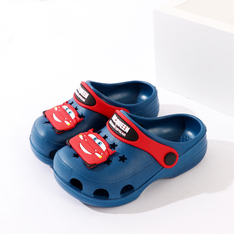 Toddlers Kids Cartoon 3D Racing Car Flat Beach Slippers