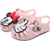 Kid Toddler Girl Hollow-Out 3D Mickey Minney Jelly Flats Sandals Shoes