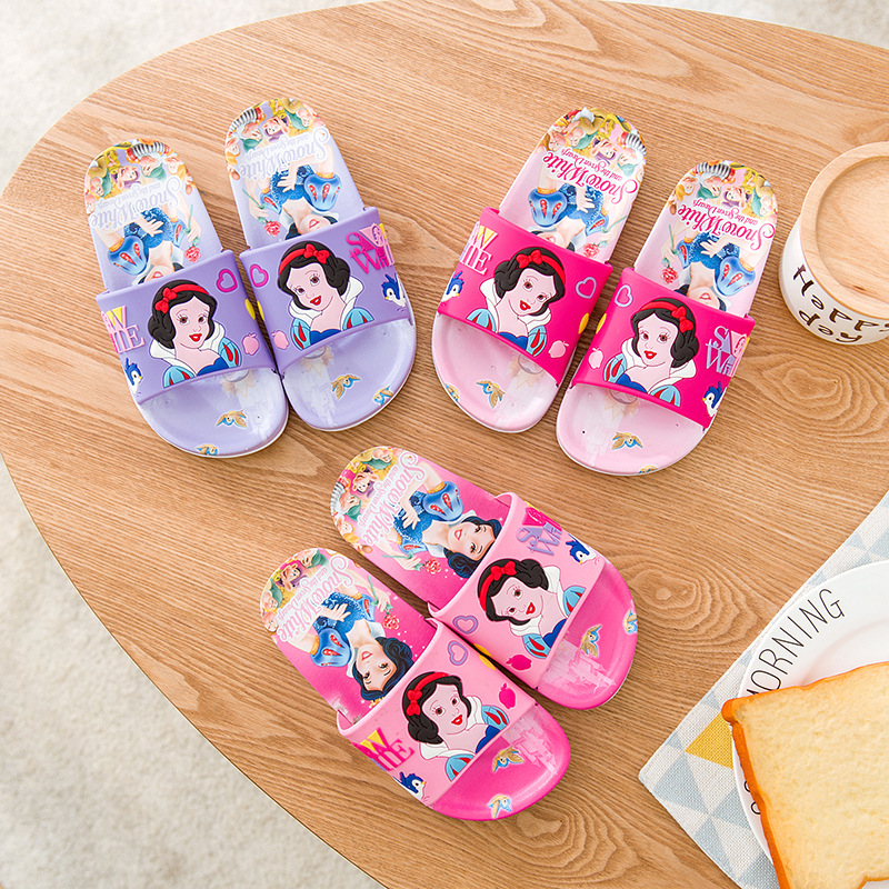 Toddlers Kids Cartoon 3D Snow White Princess Flat Beach Slippers