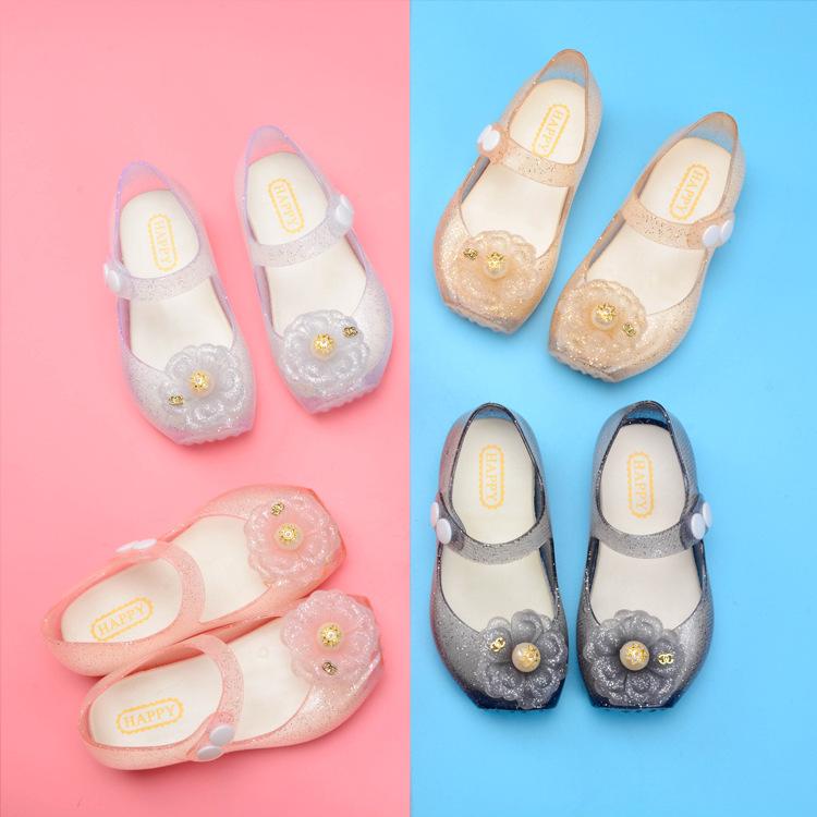 Kid Toddler Girl Cartoon 3D Glitter Flower Jelly Flats Shoes