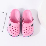 Kid Flat Beach Slippers With 3D Dsiney MinnyAnd Flowers Silica Gel Printing Shoe Sides