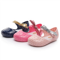 Kid Toddler Girl Glitter Bowknot Hollow-Out Jelly Flats Shoes