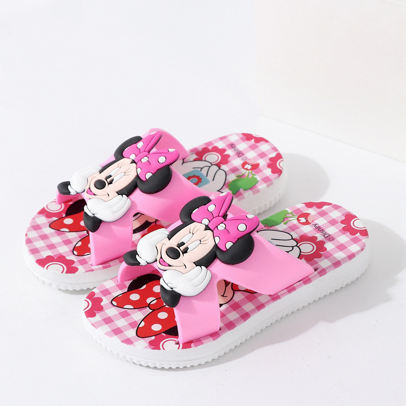 Toddlers Kids Cartoon 3D Smile Mickey Minny Flat Beach Slippers