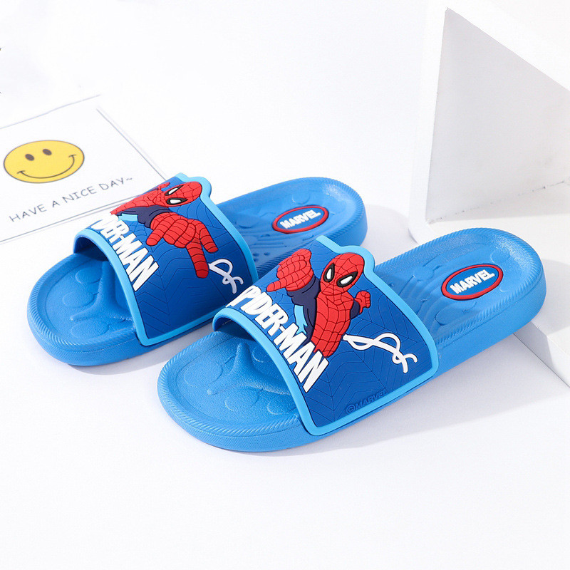 Toddlers Kids Cartoon Spiderman Flat Beach Slippers