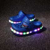 Toddlers Kids Cartoon 3D LED Lights Car Flat Beach Slippers Sandals
