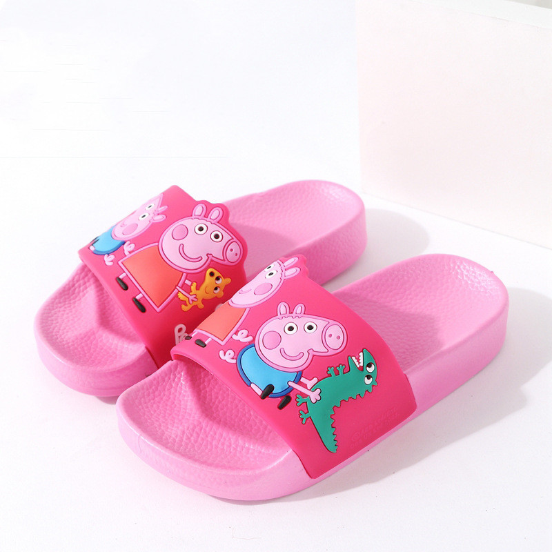 Toddlers Kids Cartoon Peppa George Pig And Dinosaur Bowknot Flat Beach Slippers