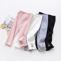 Kid Girl Embroideried Pig Cotton Cropped Leggings Bottoms