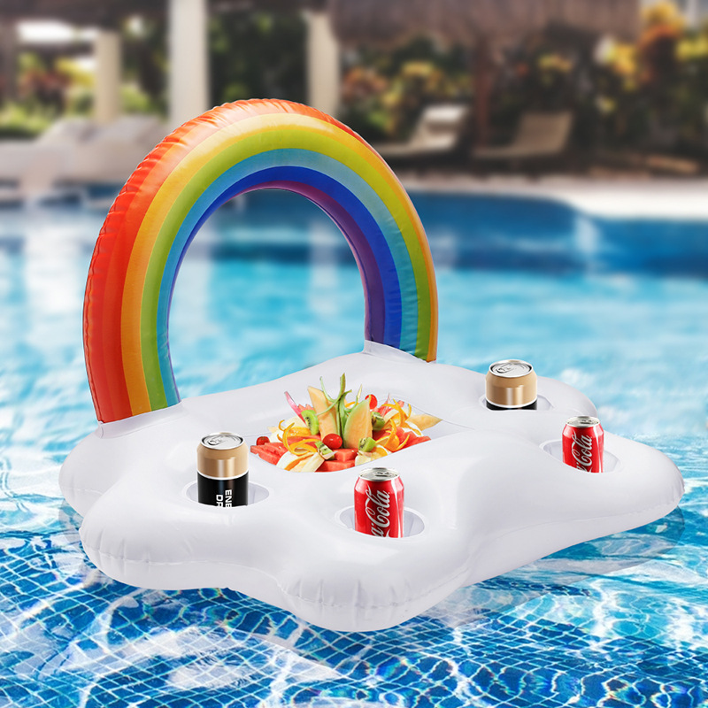 Kids Inflatable 3D Rainbow Cloud Drink Holder Floating Summer Beach Party Accessories