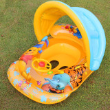 Toddler Kids Inflatable Winnie The Pooh Sitting Swimming Ring With Steering Wheel And Armrest