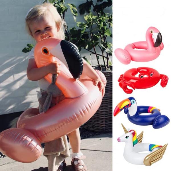 Toddler Kids Pool Floats Inflated Swimming Rings Flamingos Unicorn Sitting Swimming Circle