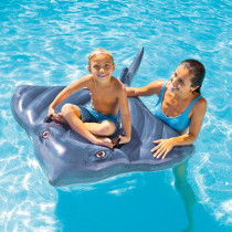 Grey Blue Stingray Skate Fish Ride-On Inflatable Pool Floats Toy For Kids Child Adults