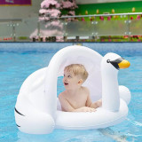 Toddler Kids Pool Floats Inflatable White Swan Seat Swimming Rings With Awning Swimming Circle