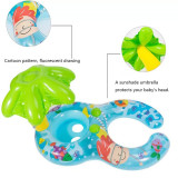 Mom and Child Baby Parent-Child Seat Swimming Rings With Lotus Leaf Awning Inflatable Swimming Circle