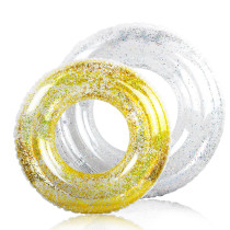 2 Packs Golden And Silver Mixed Kids Sequined Pool Floats Inflated Swimming Rings