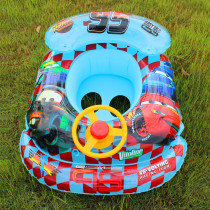 Toddler Kids Inflatable Racing Cars Sitting Swimming Ring With Steering Wheel And Armrest