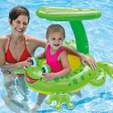 Toddler Kids Pool Floats Inflatable Green Frog Seat Swimming Rings With Lotus Leaf Awning Swimming Circle
